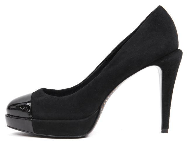 CHANEL Black Suede Patent Leather Cap-Toe Platforms Heels Size EU 38.5 US 8.5