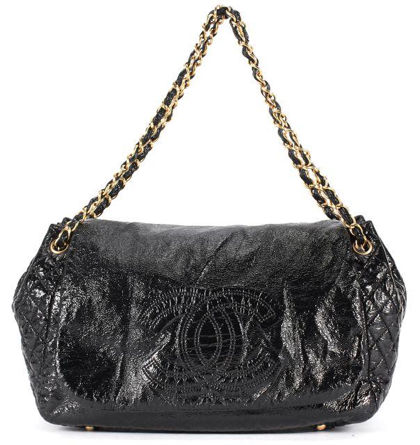 CHANEL Black Patent Vinyl Chain Strap Accordion Flap Shoulder Bag