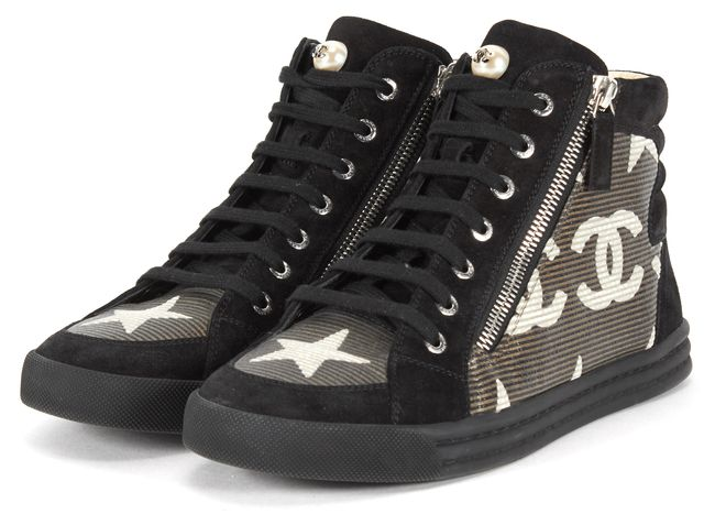 CHANEL Black Suede Pre-Fall 2014 Lace Up Pearl High-Top Sneakers