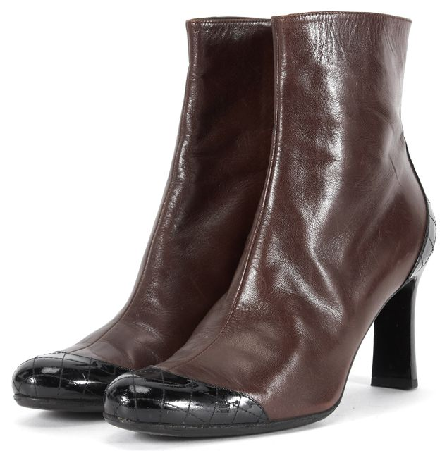 CHANEL Brown Black Quilted Patent Detail Leather Ankle Boots