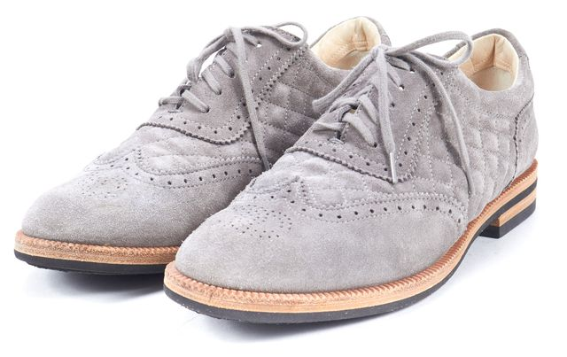 CHANEL Pre-Fall 2012 Gray Suede Leather Quilted Oxfords