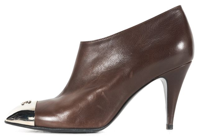 CHANEL Brown Leather Silver-Tone Metal Cap Toe Ankle Boots Heels