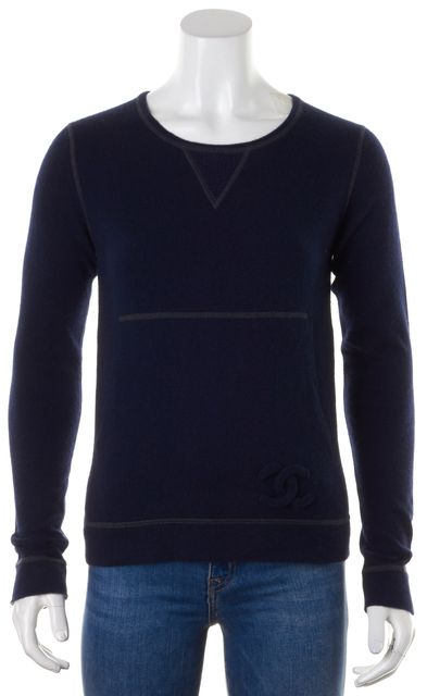 CHANEL Navy Blue Gray Cashmere Pocket Front Crewneck Sweater