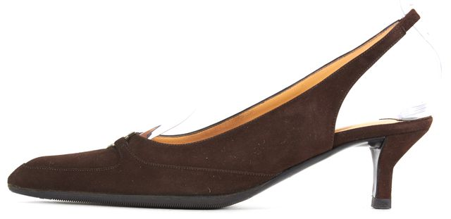 CHANEL Chocolate Suede CC Plate Point-Toe Slingback Heels