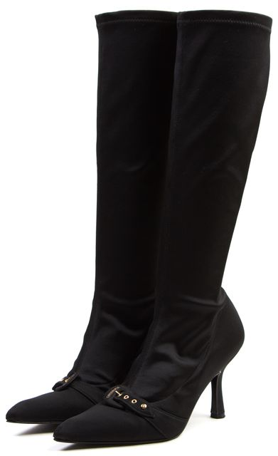 CHANEL Black Gold-Tone Satin Buckle Knee-High Stretch Boot Heels