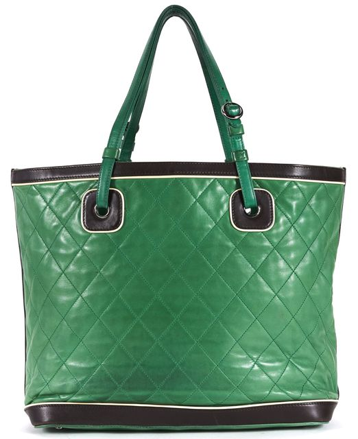 CHANEL Green Brown Quilted Leather Large Tote Bag