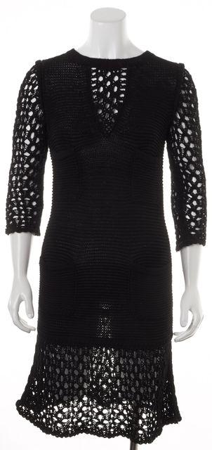 CHANEL Black Open Knit Trim Long Sleeve Sheath Dress