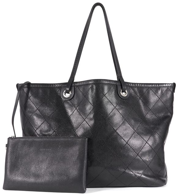 CHANEL Black Quilted Caviar Leather Large Shopping Fever Tote Bag