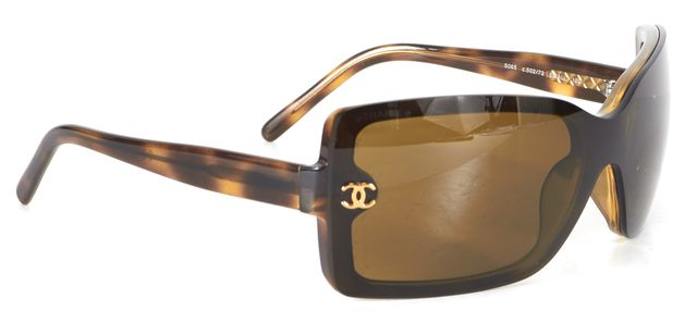 CHANEL Brown Acetate Rectangular Sunglasses w/ Case