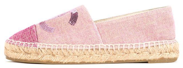 CHANEL Pink Sequin Embellished Canvas Espadrille Flats