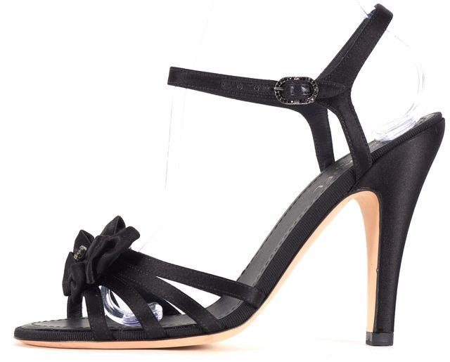 CHANEL Black Satin Embellished Sandal Heels