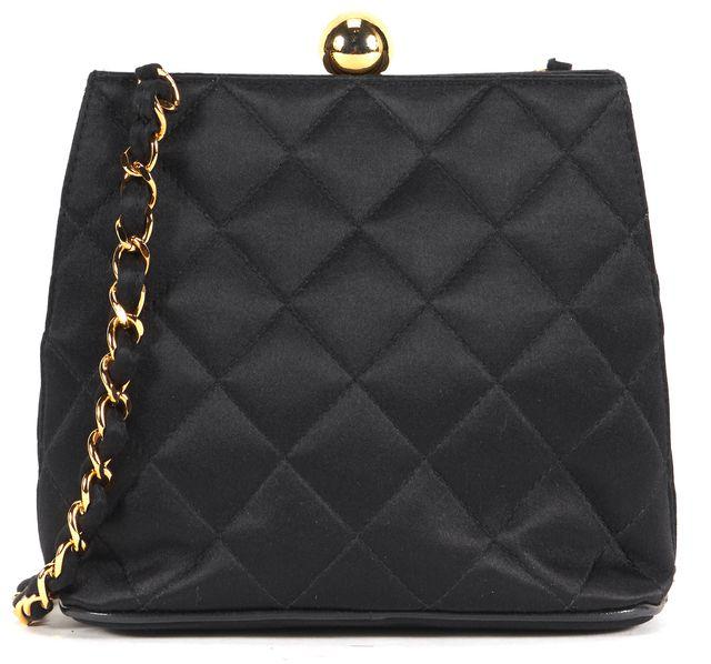 CHANEL Vintage Black Quilted Satin Kiss Lock Chain Shoulder Bag