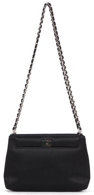 CHANEL Black Satin Mini Chain Strap Shoulder Bag