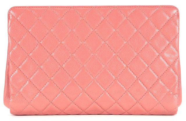 CHANEL Pink Quilted Caviar Leather CC Jumbo Clutch Bag