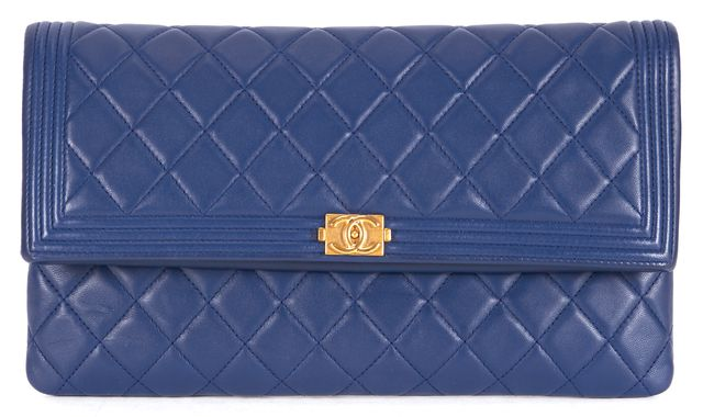 CHANEL Navy Blue Quilted Leather Boy Foldover Clutch Bag