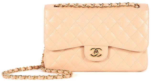CHANEL Light Beige Caviar Leather Jumbo Classic Flap Crossbody Bag