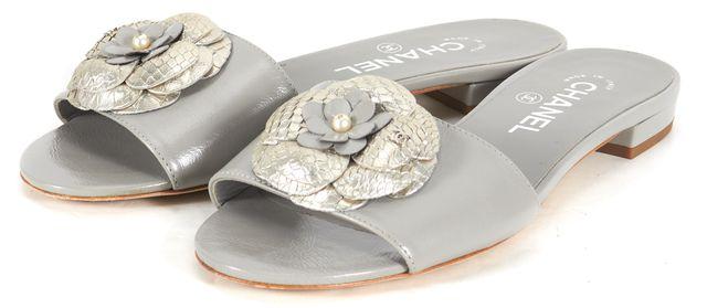 CHANEL Gray Leather Camellia Flower Slide Sandals