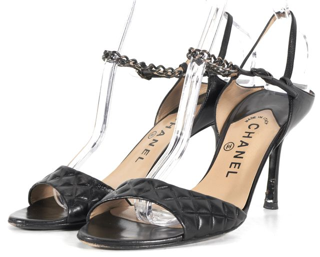 CHANEL Black Quilted Leather Silver Chain Sandal Heels