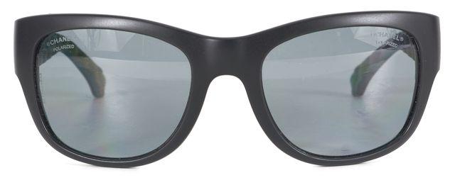 CHANEL Black Matte Acetate Polarized Rectangular Sunglasses