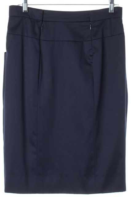 CHANEL Navy Blue Cotton Pocket Front Pencil Skirt