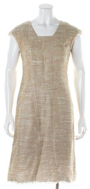 CHANEL Beige White Tweed Fringe Trim Linen Sheath Dress