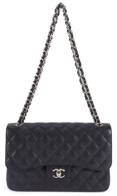 CHANEL Black Caviar Leather Jumbo Double Flap Shoulder Bag Handbag