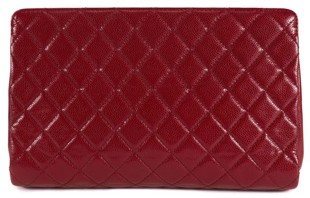 CHANEL Red Caviar Leather Quilted CC Clutch