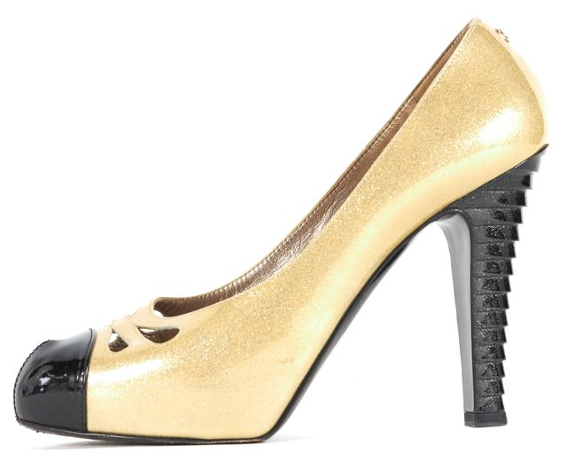 CHANEL Gold Sparkle Patent Leather Cut Out Toe Ridged Stiletto Heels