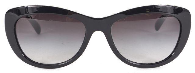 CHANEL Black Acetate Pearl Rim Embellished Rectangular Sunglasses