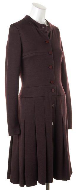 CHANEL Purple Long Sleeve Pleated Shirt Dress