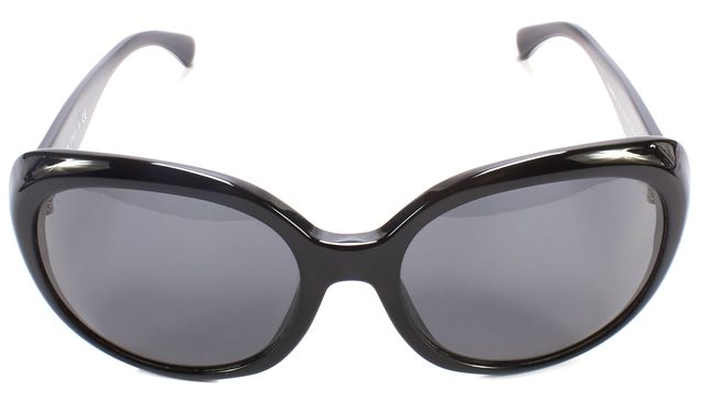 CHANEL Black Acetate Frame Round Sunglasses