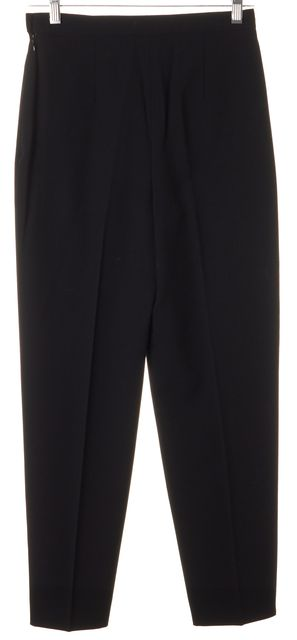 CHANEL Black Solid Wool Crease Front CC Button Dress Pants
