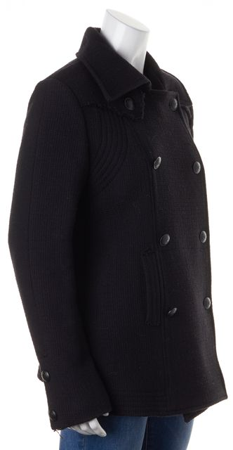 CHANEL Black Wool Double Breasted Basic Coat