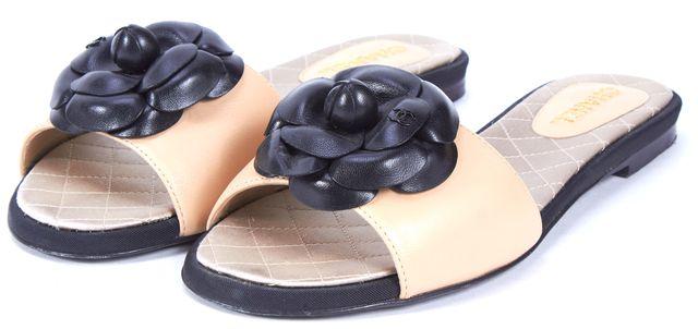CHANEL Beige Black Lambskin Leather Camellia Flat Slide Sandals