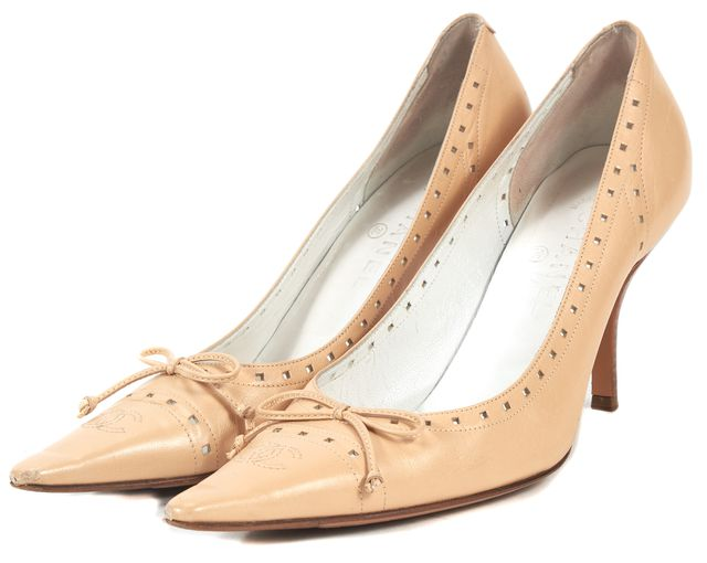 CHANEL Beige Leather Cut-Out CC Point Toe Pumps