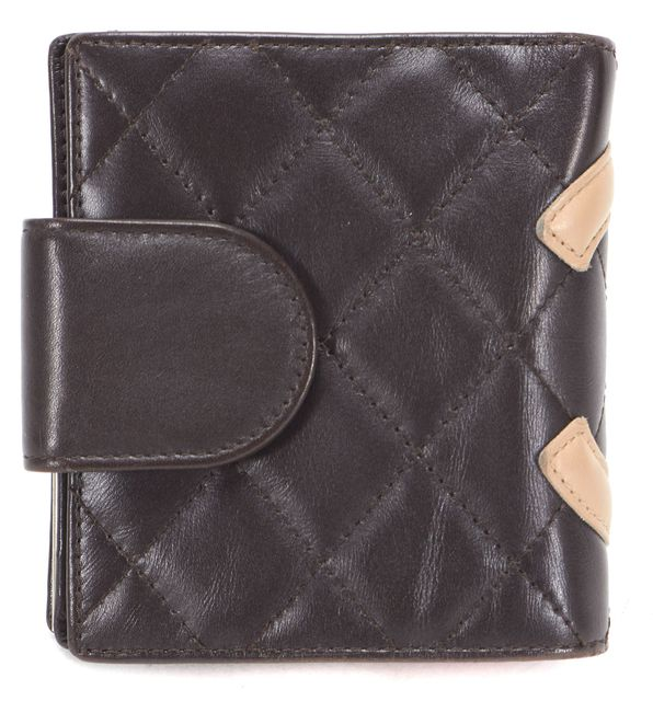 CHANEL Brown Beige Leather CC Logo Ligne Cambon Compact Wallet
