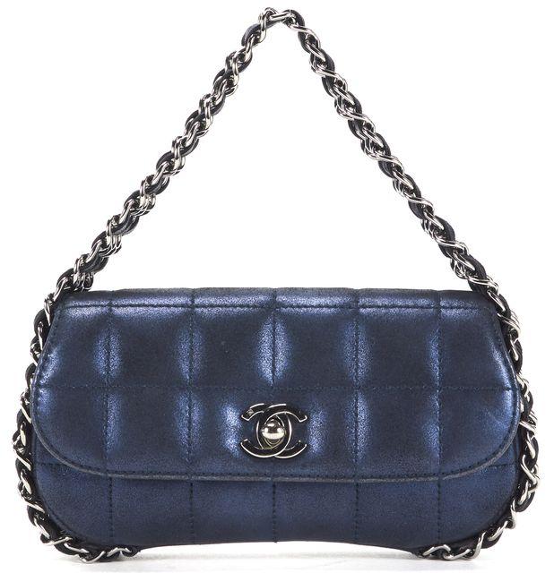 CHANEL Navy Metallic Suede Chocolate Bar CC Turnlock Classic Chain Handbag