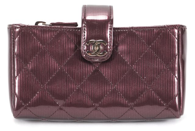CHANEL Purple Quilted Patent Leather Mini Pochette Wallet