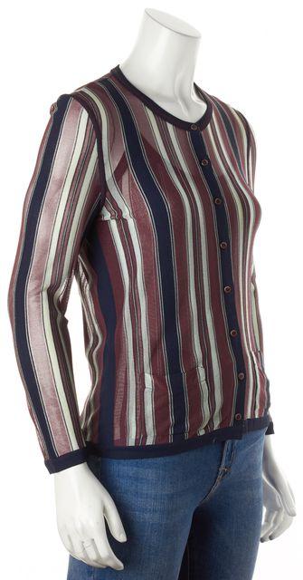 CHANEL Purple Blue Semi-Sheer Striped Tank Cardigan Set
