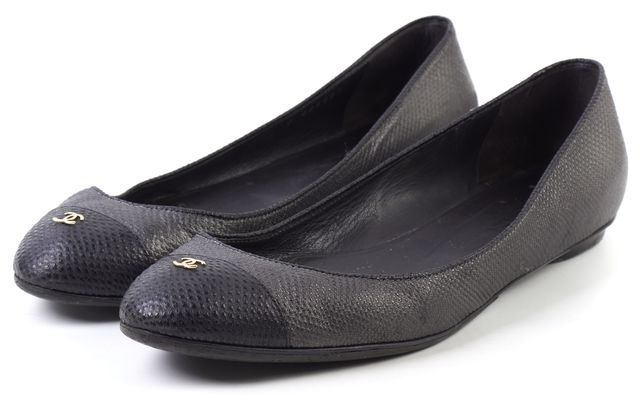CHANEL Black Lizard Leather Cap Toe Ballet Flats