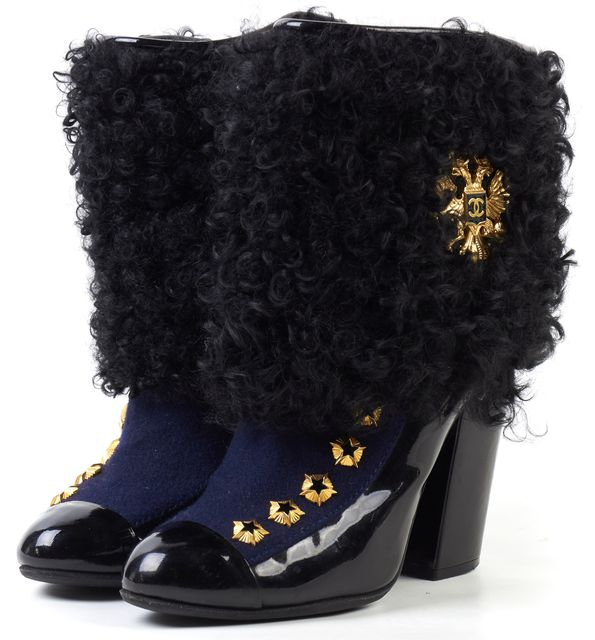 CHANEL Black Navy Patent Paris-Moscou Shearling Ankle Boots