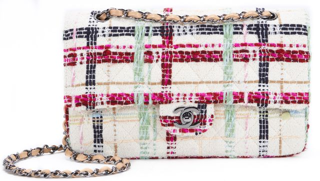 CHANEL White Multi-Color Tweed Classic Flap Bag