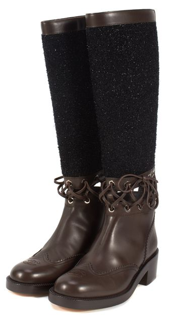 CHANEL Brown Leather Cut-Out Wool Embellished Knee-High Boots