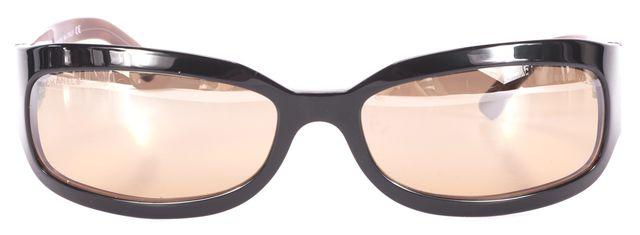 CHANEL Black Brown Mirrored Rectangular Sunglasses