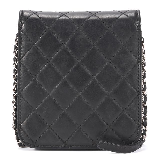 CHANEL Black Quilted Lambskin Leather Clams Wallet On Chain Crossbody