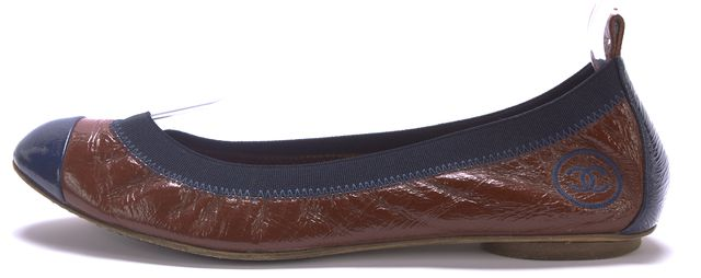 CHANEL Burgundy Navy Patent Leather Elastic Trim Cap-Toe Flats