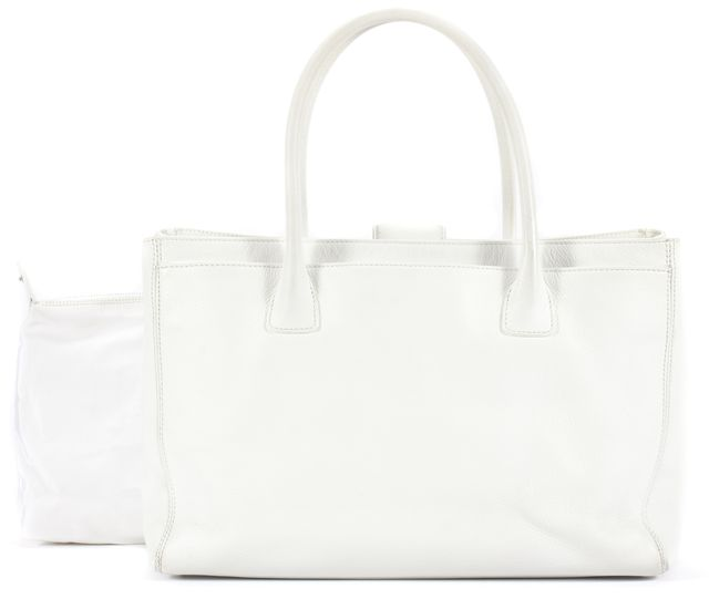 CHANEL White Leather Silver-Tone CC Cerf Tote Top Handle Bag