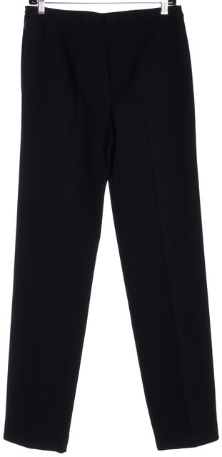 CHANEL Black Textured Wool Flat Front Wide Leg Dress Pants