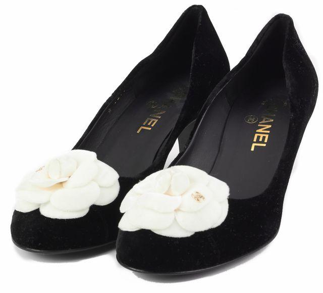 CHANEL Black White Classic Camellia Flower Velvet Heel Pumps