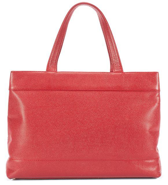 CHANEL Red Caviar Leather Tote Handbag